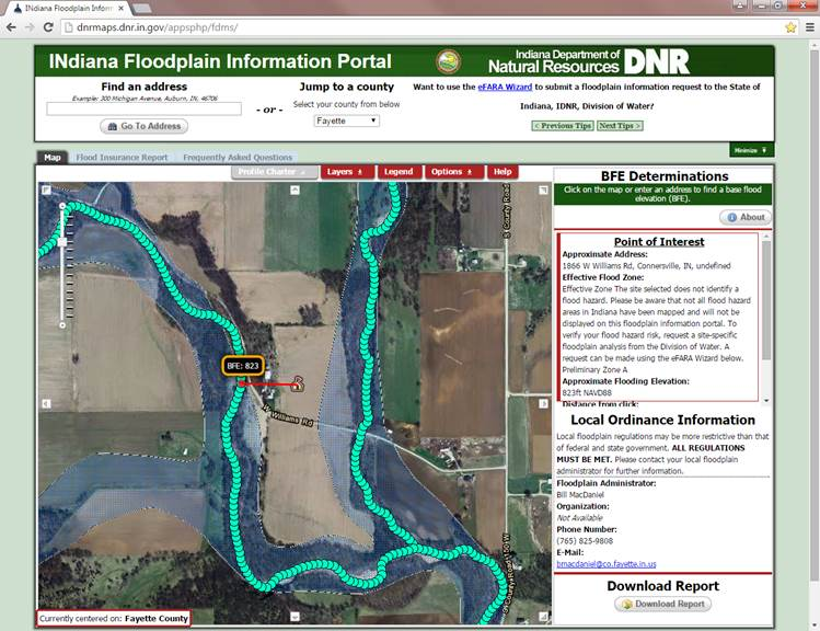 Indiana floodplain information portal another issue are determinations that are between two streams in this case the stream to the west is giving a significantly higher bfe 823 than the publicscrutiny Gallery